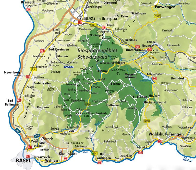 karte vom schwarzwald Biosphärengebiet Schwarzwald   Bernau im Schwarzwald karte vom schwarzwald